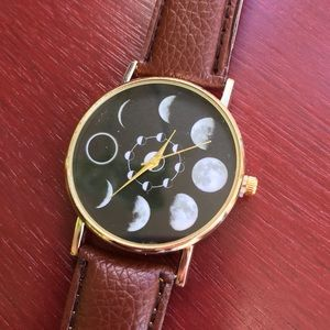 Accessories - Vegan leather MOON dial quartz analog watch